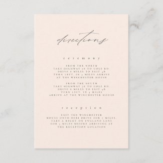 Minimal Blush Fine Art Floral Wedding Directions Enclosure Card