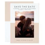 Minimal Blush Pink and White Photo Save the Date Card