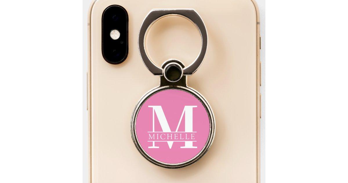 minimal bold monogram with name pink phone ring stand zazzle com zazzle