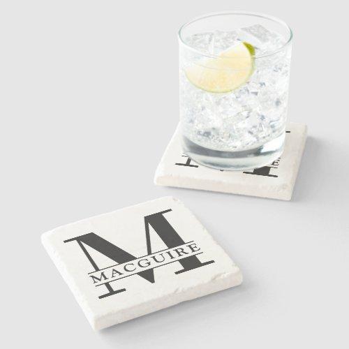 Minimal Bold Monogram with Name Stone Coaster
