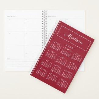 Minimal Burgundy White 2020 Calendar Script Name Planner
