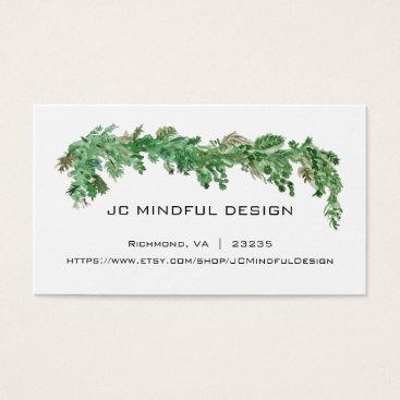 Beach Themed Minimal Business Card Greenery Theme