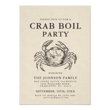 Beach Themed Minimal Crab Boil Vintage Style Crab Invite