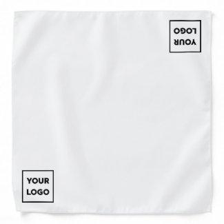 Minimal Custom Business Logo on White Bandana