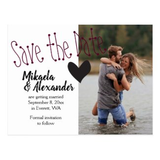 Minimal, Cute Wedding Save the Date Postcard