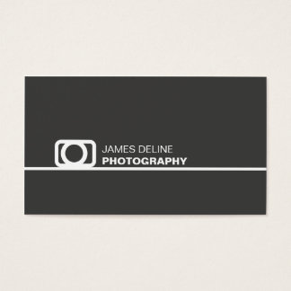 Minimal Dark Grey White Line Icon Photography Business Card