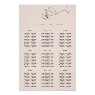 Minimal Delicate Floral Wedding Seating Chart