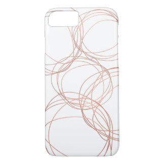 Minimal Designer Scribble Logo in Rose Gold iPhone 7 Case