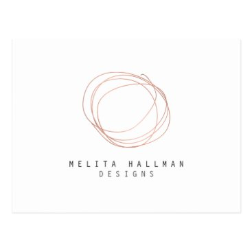 Minimal Designer Scribble Logo in Rose Gold Postcard
