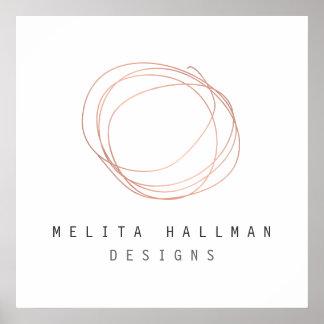 Minimal Designer Scribble Logo in Rose Gold Poster
