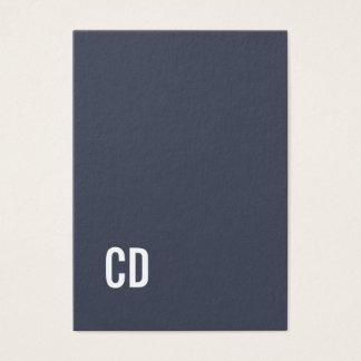 Minimal Elegant Blue White Monogram Consultant Business Card