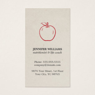 Nutrition business cards templates zazzle minimal elegant cool red apple nutritionist business card colourmoves