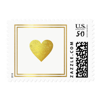 minimal faux gold love heart, wedding postage