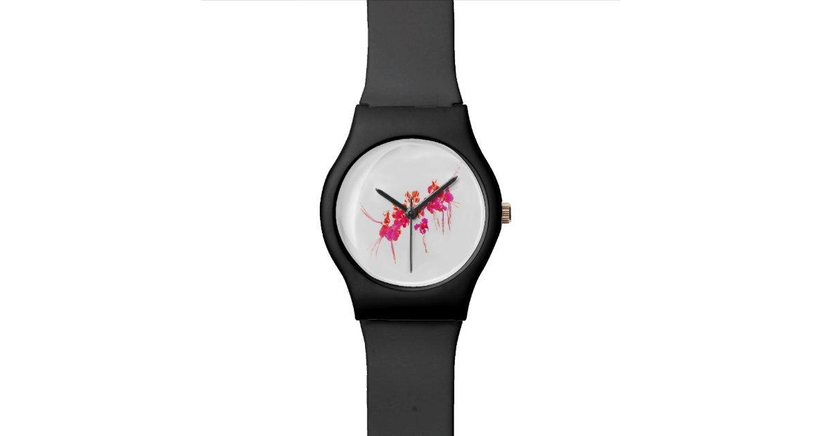 Minimal floral print wrist watches zazzle for Minimal art wrist watch