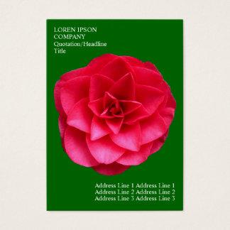 Minimal Flowers - Red Camelia - Deep Grass Green Business Card