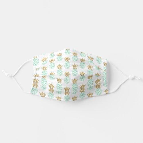 Minimal gold glitter mint green pineapple pattern cloth face mask
