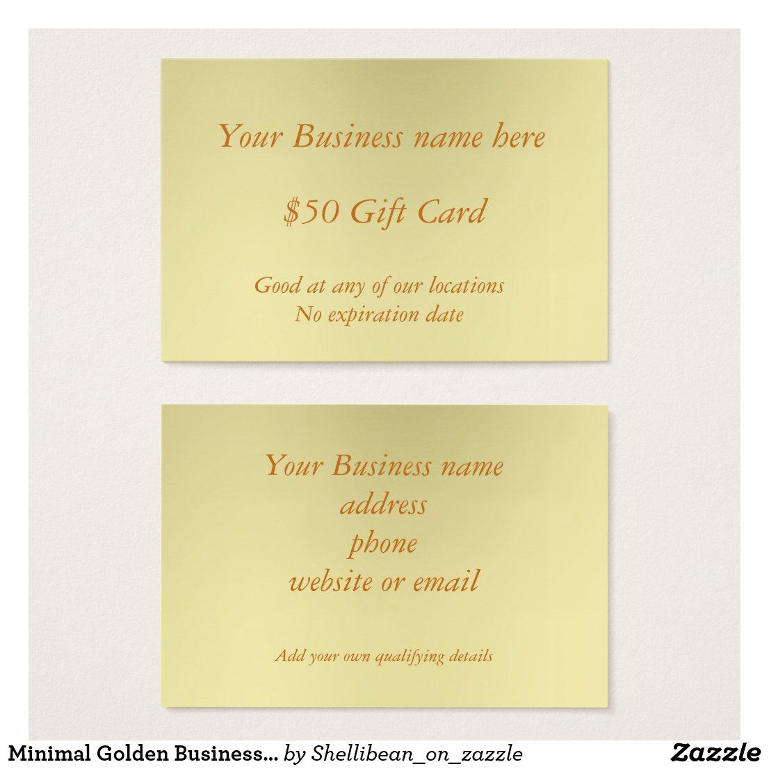 Minimal Golden Business Fifty Dollar Gift Card