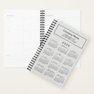 Minimal Gray Black 2020 Calendar Company Name Planner