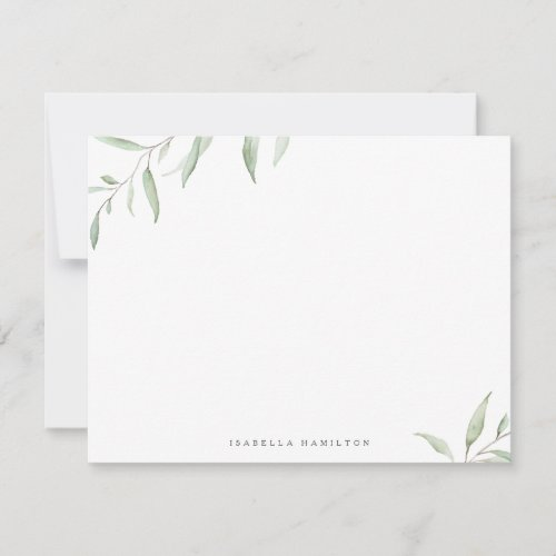 Minimal greenery rustic Personalized Stationery Note Card