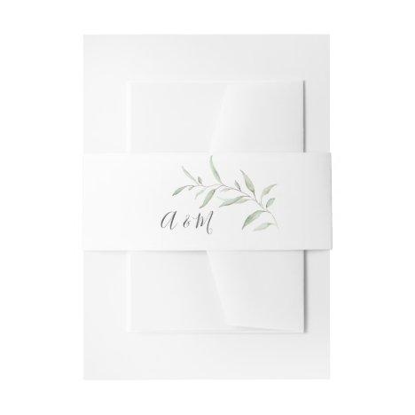 Minimal greenery rustic wedding monogram invitation belly band