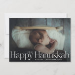"""Minimal Happy Hanukkah Holiday Photo<br><div class=""""desc"""">Simple happy hanukkah in serif letters with year and family signature. Add your own message or extra photos to the back side.</div>"""