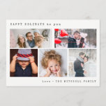 "Minimal Holiday Photo Collage | Black Gingham<br><div class=""desc"">This stylish and elegant holiday card features five of your personal photos,  with simple typewriter look text. The back features a vintage black gingham pattern.</div>"