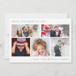 "Minimal Holiday Photo Collage | Green Gingham<br><div class=""desc"">This stylish and elegant holiday card features five of your personal photos,  with simple typewriter look text. The back features a trendy,  deep green gingham pattern.</div>"