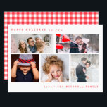 "Minimal Holiday Photo Collage | Red Gingham<br><div class=""desc"">This stylish and elegant holiday card features five of your personal photos,  with simple typewriter look text. The back features a vintage red gingham pattern.</div>"