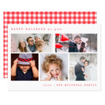 Minimal Holiday Photo Collage | Red Gingham
