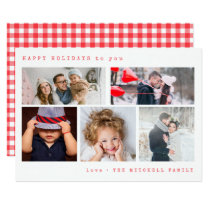 Minimal Holiday Photo Collage | Red Gingham Card