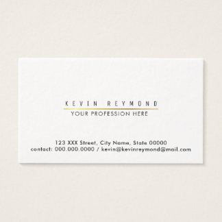 minimal information on chic white professional business card
