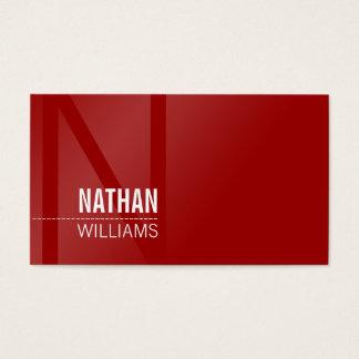 MINIMAL initial simple modern cool dark rich red Business Card