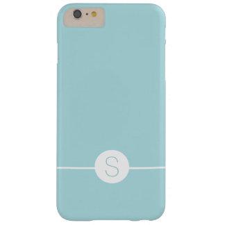 Minimal iOS 8 Style - Plain Aqua White Monogram Barely There iPhone 6 Plus Case