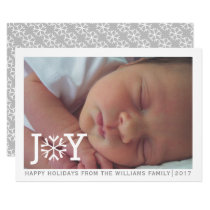 "Minimal ""joy"" snowflake Christmas holiday photo Card"