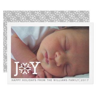 "Minimal ""joy"" snowflake Christmas holiday photo Card"