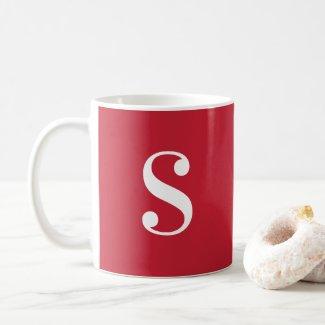 Minimal Large White Monogram on Red Coffee Mug