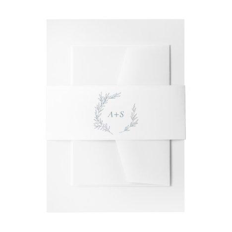 Minimal Leaf   Dusty Blue Monogram Wedding Invitation Belly Band