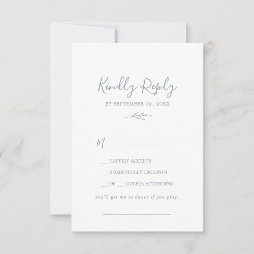 Minimal Leaf | Dusty Blue Song Request RSVP Card