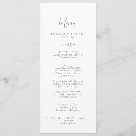 Minimal Leaf | Dusty Blue Wedding Dinner Menu
