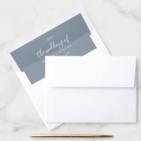 Minimal Leaf | Dusty Blue Wedding Envelope Liner
