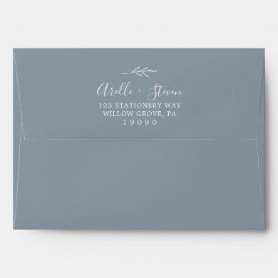 Minimal Leaf | Dusty Blue Wedding Invitation Envelope