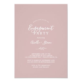 Minimal Leaf | Dusty Rose Engagement Party Invitation