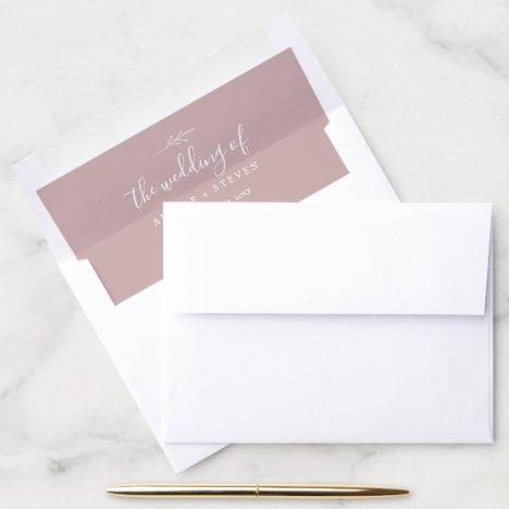 Minimal Leaf | Dusty Rose Wedding Envelope Liner