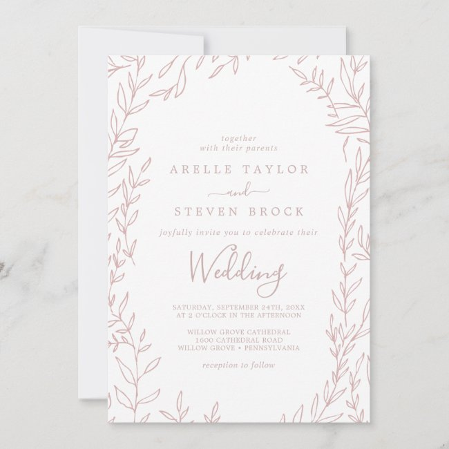 Minimal Leaf | Dusty Rose Wedding Invitation