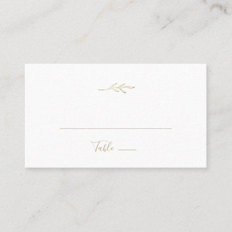 Minimal Leaf | Gold Flat Wedding Place Card