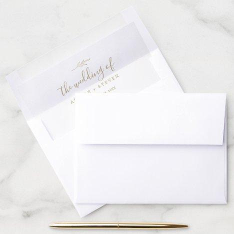 Minimal Leaf   Gold Wedding Envelope Liner