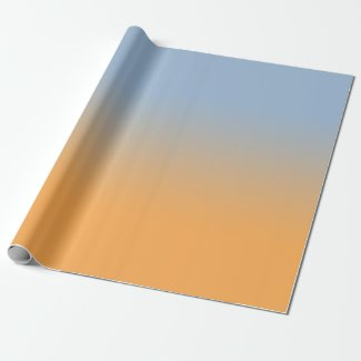 Minimal Light Blue to Orange Ombré Wrapping Paper