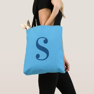 Minimal Light Blue with Large Navy Blue Monogram Tote Bag