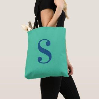 Minimal Light Green with Large Navy Blue Monogram Tote Bag