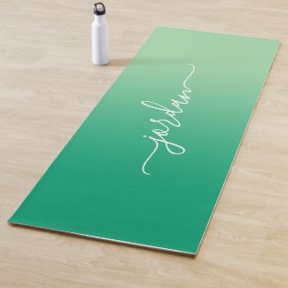 Minimal Light to Dark Green Gradient Script Name Yoga Mat